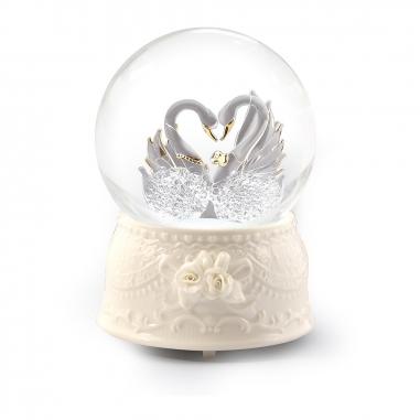 JARLL ART讚爾藝術 拉絲玻璃天鵝音樂鈴水晶球