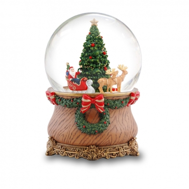 JARLL ART讚爾藝術 《聖誕限定》聖誕老公公坐雪橇音樂鈴水晶球