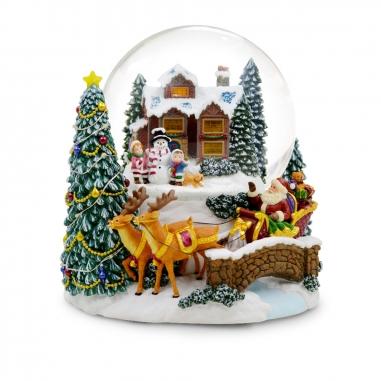 JARLL ART讚爾藝術 《聖誕限定》聖誕老公房屋小孩音樂鈴水晶球