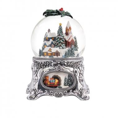 JARLL ART讚爾藝術 《聖誕限定》雪景樹內轉盤火車音樂鈴水晶球