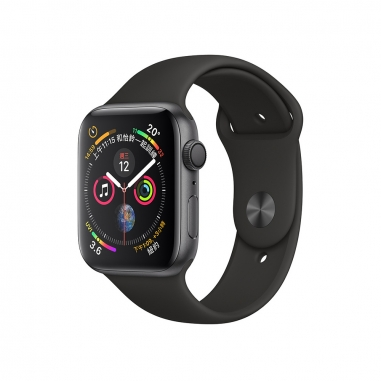 AppleApple Apple Watch Series 4 太空灰色鋁金屬錶殼-黑色運動型錶帶44mm(GPS)