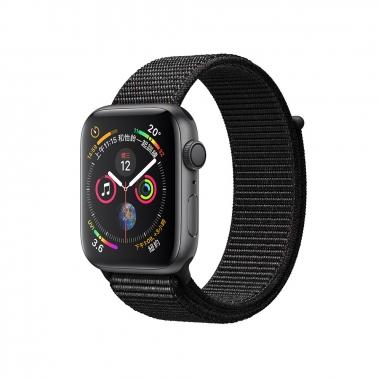 AppleApple Apple Watch Series 4 太空灰色鋁金屬錶殼-Watch44 S4灰鋁黑織帶44mm(GPS)