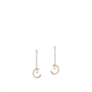 GrosseGrosse 雪姬金色捷克水晶仿珍珠水晶石穿孔耳環