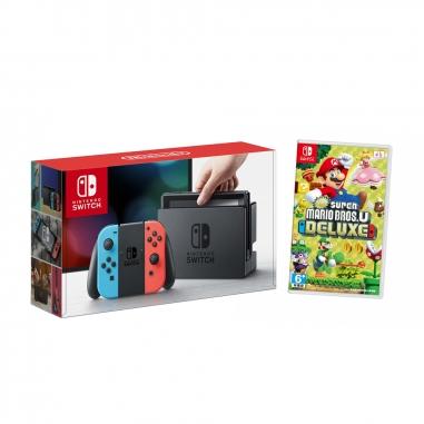 Nintendo任天堂 任天堂SWITCH主機+超級瑪利兄弟U遊戲片