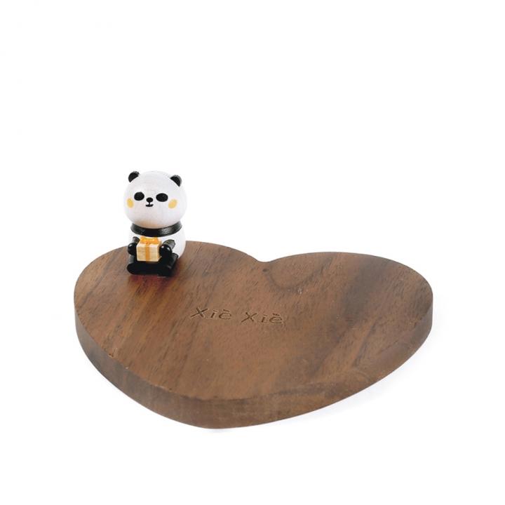 Wooden Coaster Panda sit on heart熊貓杯墊 熊貓坐愛心
