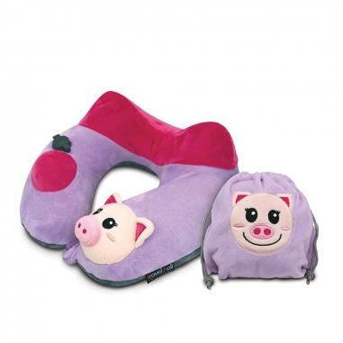 TravelMallTravelMall 兒童按壓式充氣頸枕 粉紅豬