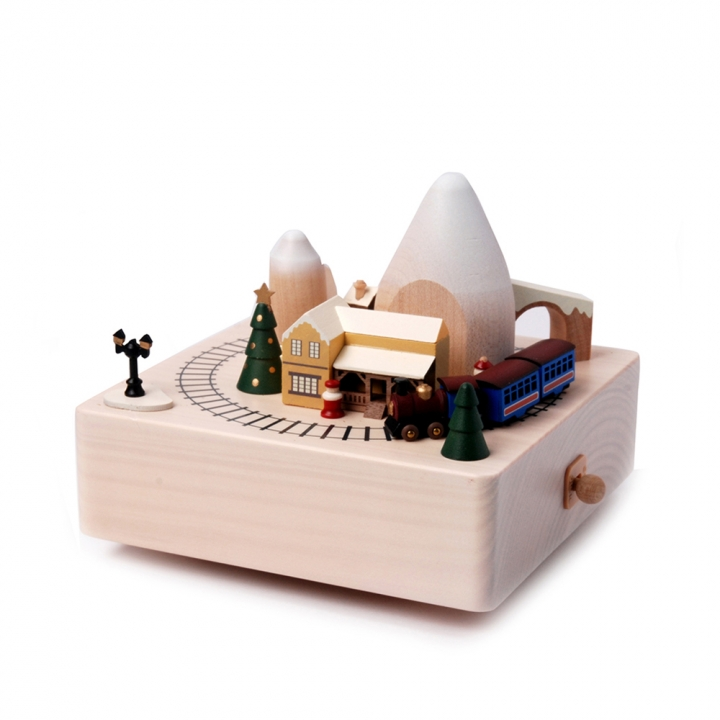 New City Wooden Music Box - Winter Train新城市音樂鈴 冬季列車