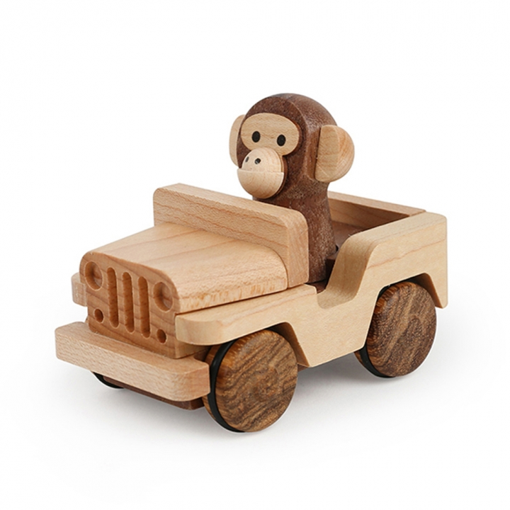 Wooden Pull-back Car Jeep - Monkey木育迴力車 吉普車猴子