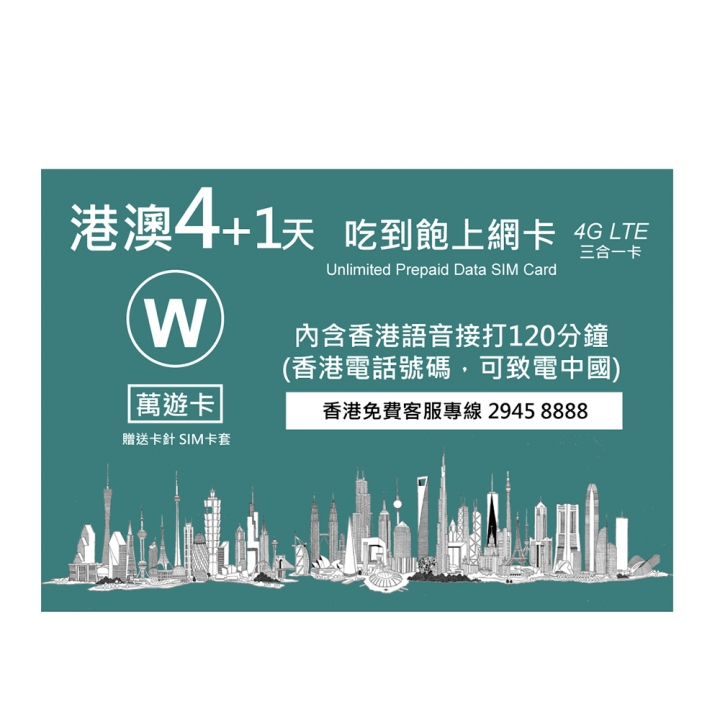 Hong Kong & Macau 5 days unlimited data sim card萬遊卡港澳4+1天吃到飽