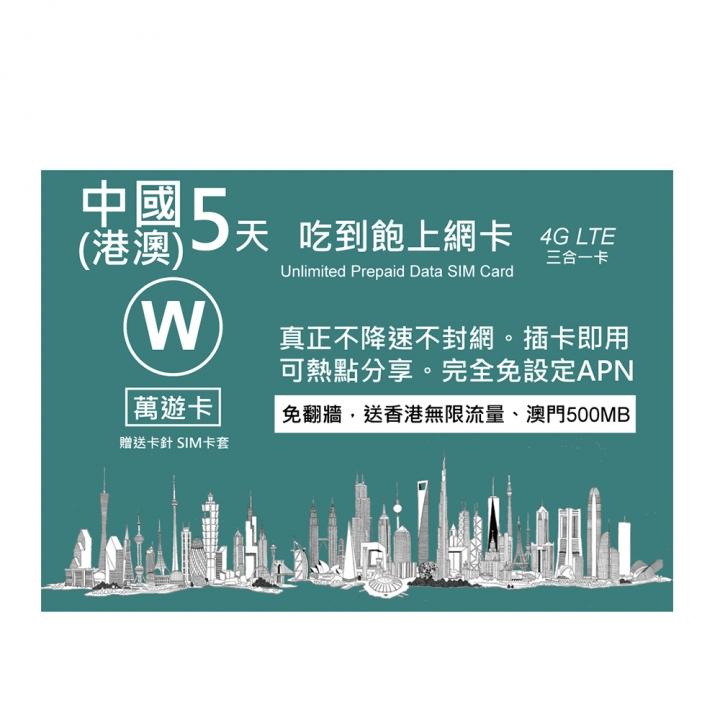 China 5 days unlimited data sim card萬遊卡中國5天吃到飽