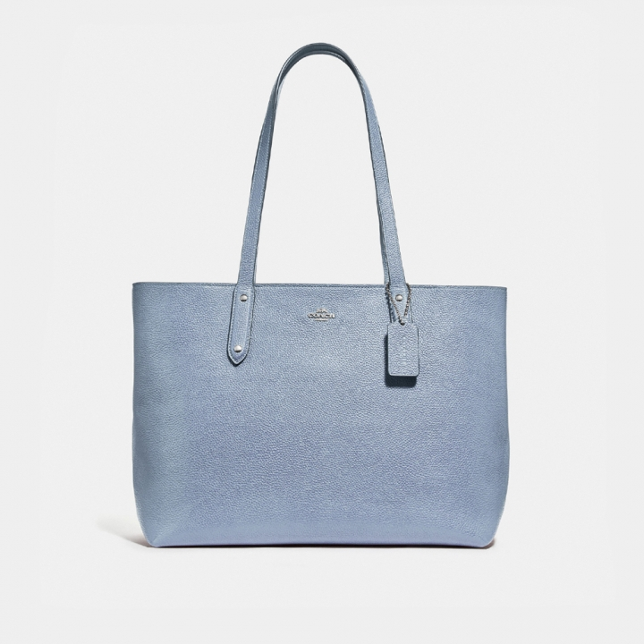 POLISHED PEBBLE LEATHER CENTRAL TOTE WITH ZIPCENTRAL拖特包
