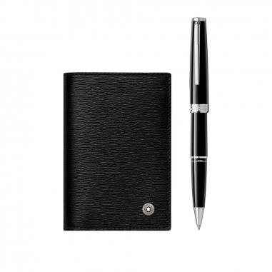 Montblanc萬寶龍(精品) 禮品組合-PIX 黑色鋼珠筆及4810 Westside V 型雙摺式名片夾