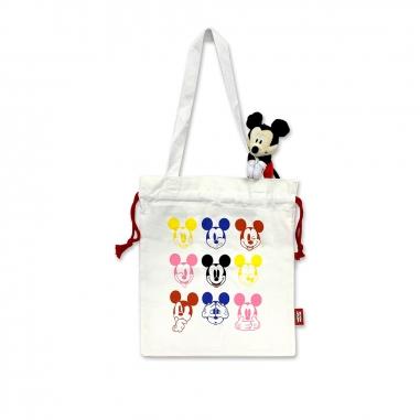 Disney迪士尼 米奇束口帆布袋+吊飾玩偶