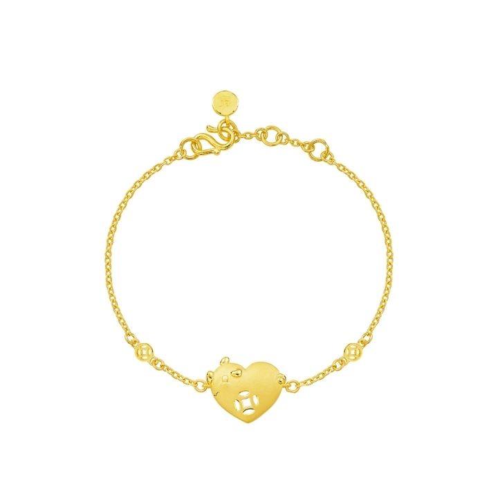 Welcome Little One Gold Bracelet《明星送禮款》樂樂豬彌月金飾禮盒