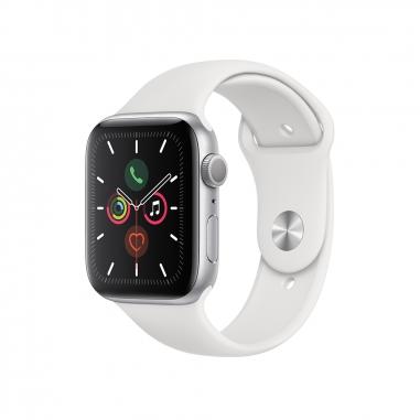 AppleApple 銀色鋁金屬錶殼 白色運動型錶帶