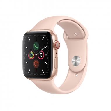 AppleApple 金色鋁金屬錶殼 粉沙色運動型錶帶