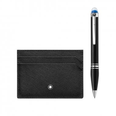 Montblanc萬寶龍(精品) 禮品組合-星際行者樹脂原子筆+匠心5卡式黑色卡夾