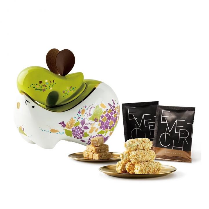 祈旺鼠瓷罐禮盒-平安綠