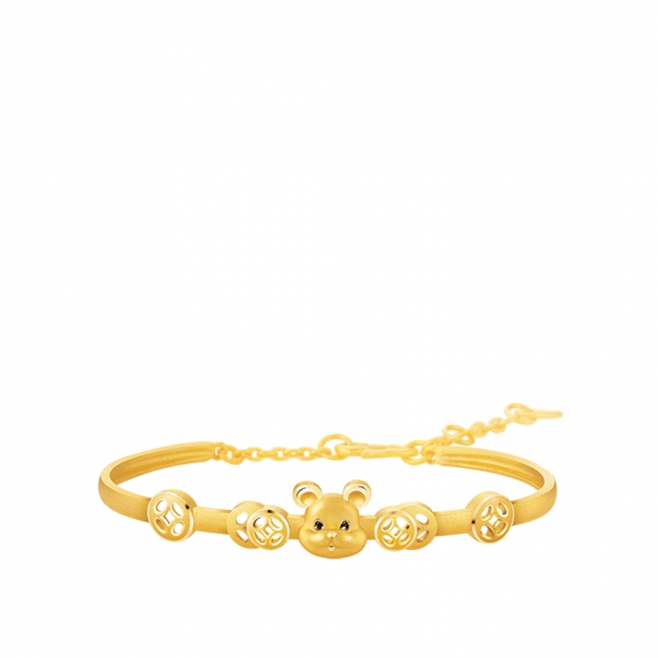 FORTUNE MOUSE GOLD BANGLE金鼠報喜黃金手鐲