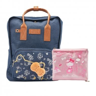 Hello KittyHello Kitty 《組合優惠+送旅行夾鏈袋和保冰杯》Hello Kitty牛仔背包+旅行雙層袋
