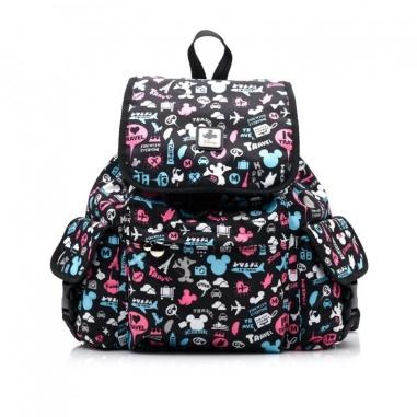 Disney迪士尼 《贈護照套+送旅行夾鏈袋》旅行花版系列後背包-大