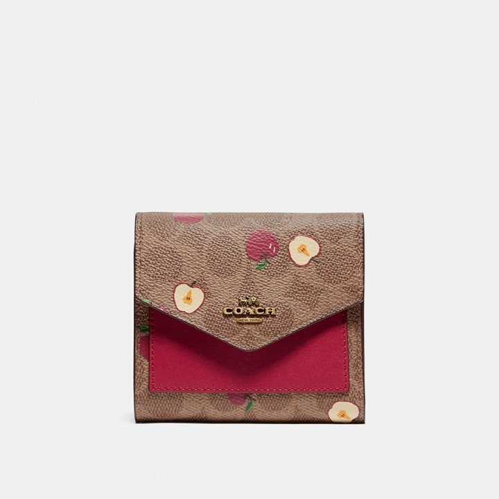SMALL WALLET IN SIGNATURE CANVAS WITH SCATTERED APPLE PRINT皮夾