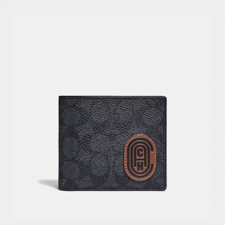3-IN-1 WALLET IN SIGNATURE CANVAS WITH REFLECTIVE COACH PATCHCOMPACT ID皮夾