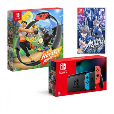 Nintendo任天堂 任天堂SWITCH 電力加強主機+健身環大冒險+異界鎖鏈(中) 同捆包