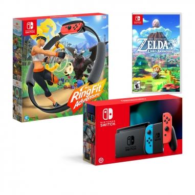Nintendo任天堂 任天堂SWITCH 電力加強主機+健身環大冒險+薩爾達傳說 織夢島+畫冊(中) 同捆包