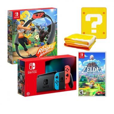 Nintendo任天堂 任天堂SWITCH 電力加強主機+健身環大冒險+薩爾達傳說 織夢島+任天堂毛毯 同捆包