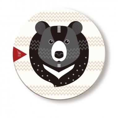 WasangShow花生騷 守護森林黑熊Q版杯墊
