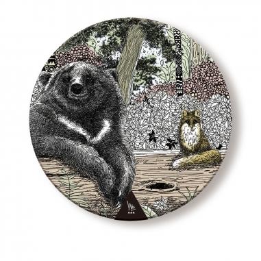 WasangShow花生騷 守護森林-黑熊杯墊