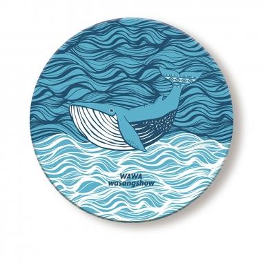 WasangShow花生騷 海洋WAWA鯨魚浪潮杯墊