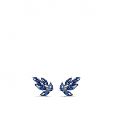 Swarovski施華洛世奇 Louison葉形藍晶串貼耳環