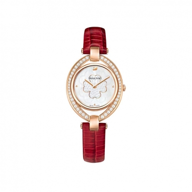 Swarovski施華洛世奇 Stella鑲橢圓RG白底紅皮錶