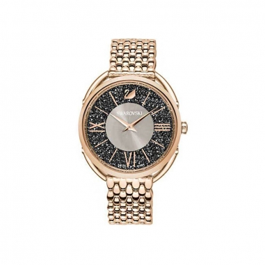 Swarovski施華洛世奇 GLAM香檳框黑面鍊錶