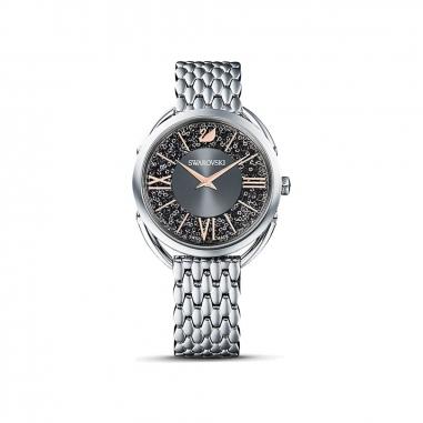 Swarovski施華洛世奇 GLAM 銀框黑面鍊錶