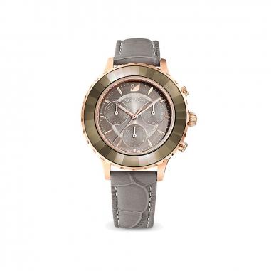 Swarovski施華洛世奇 OCTEA LUX RG框灰面灰皮錶