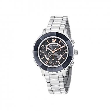 Swarovski施華洛世奇 OCTEA LUX 銀框黑面鍊錶