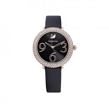 Swarovski施華洛世奇 CryFrost鑲RG框黑絹帶錶