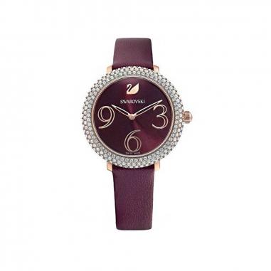 Swarovski施華洛世奇 CryFrost鑲RG框酒紅絹帶錶