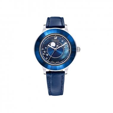 Swarovski施華洛世奇 OcteaLux銀框藍皮月象錶