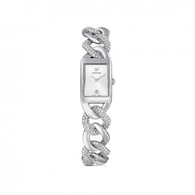 Swarovski施華洛世奇 Cocktail白面方框銀鍊錶