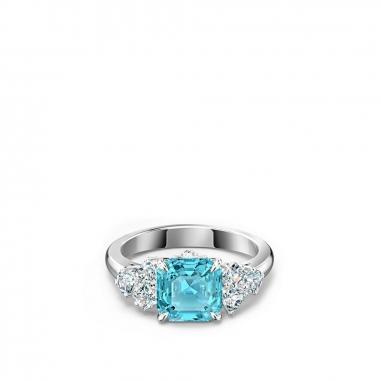 Swarovski施華洛世奇 Sparkling鑲水藍方晶戒