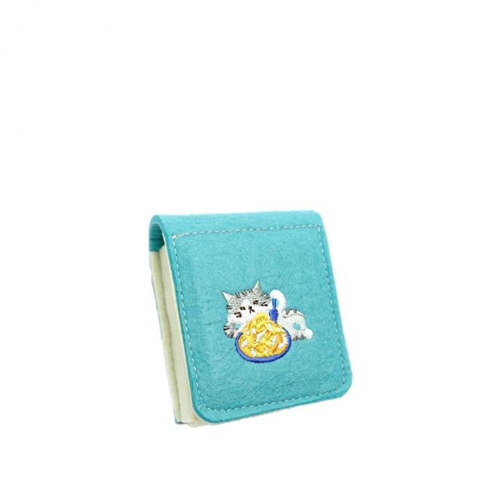 刺繡小物盒 灰貓與芒果冰