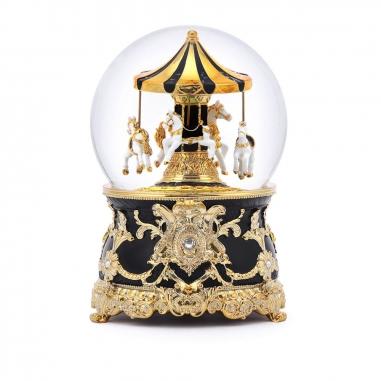 JARLL ART讚爾藝術 傘蓋遊樂馬水晶球 黑金