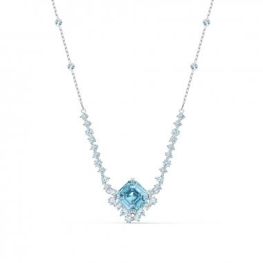 Swarovski施華洛世奇 Sparkling鑲邊藍方晶項鍊