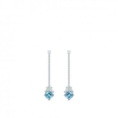 Swarovski施華洛世奇 Sparkling水藍方晶垂耳環