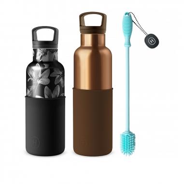 HYDY海迪 CinCin Deco水瓶組 摩卡金+黑花瓶油墨黑+專用刷具