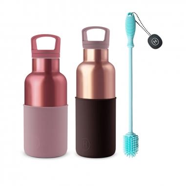 HYDY海迪 CinCin Deco水瓶組 櫻桃紅粉金+玫瑰金+專用刷具